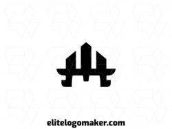 Exclusive logo in the shape of a medieval helmet, with abstract design and black color.