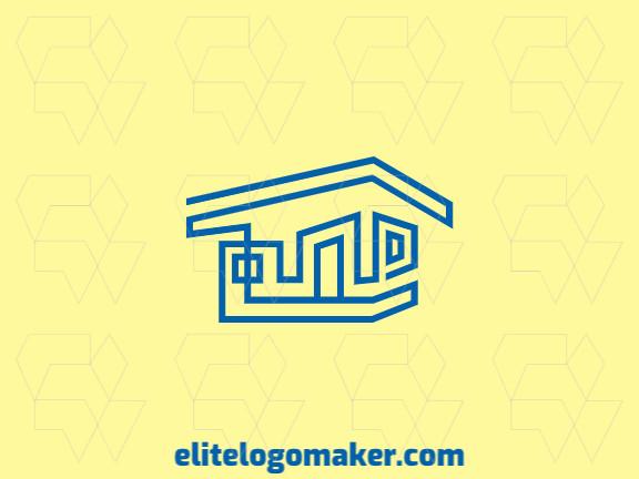 Logotipo elegante com formas abstratas formando uma casa com design monoline e cor azul.