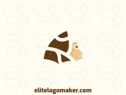 Create your own logo in the shape of a monkey with an abstract style with beige and brown colors.