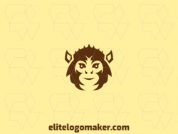 Logo consisting of abstract forms forming a monkey head with abstract style, the only color used was brown.