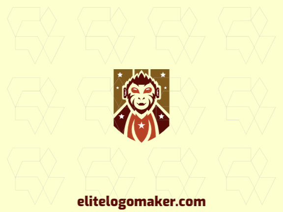 Mascot logo with solid shapes forming a monkey combined with a shield with a refined design, the colors used are orange, yellow, and brown.