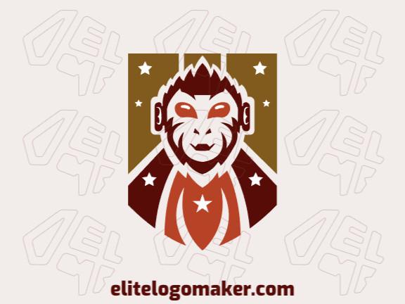 Logotipo criativo com a forma de um macaco mesclado com um escudo com design memorável e estilo abstrato (mascote), as cores utilizado foram marrom, laranja, e amarelo.
