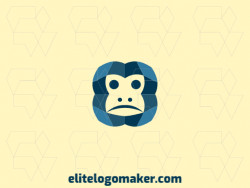 Monkey logo design composed of solid shapes and simple style, the color used is blue.