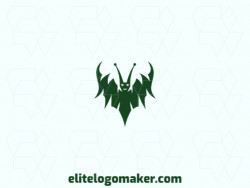 Logo available for sale in the shape of a monster with abstract style and green color.