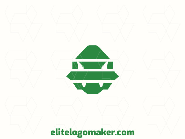 Exclusive logo in the shape of a monster, with abstract design and green color.