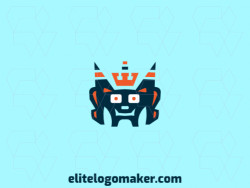 Logo design with a creative concept and stylized style forming a monster wearing a crown with blue and orange colors.
