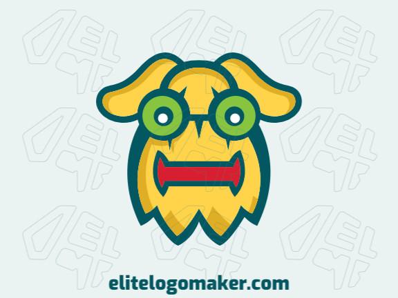 Logotipo criado com estilo abstrato formando um monstro com as cores amarelo, verde, e vermelho.