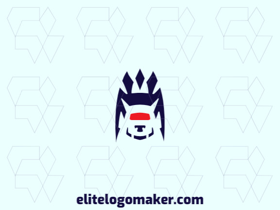 Exclusive logo in the shape of a monster, with abstract design with blue and red colors.
