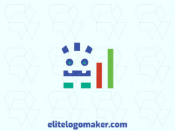 Simple logo design with the shape of a monster and a graph composed of abstracts shapes with red, blue, and green colors.