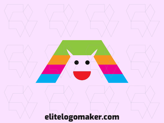 Original logo in the shape of a monster with a great design and abstract style, the colors used in the logo are pink, black, green, blue, red, and orange.