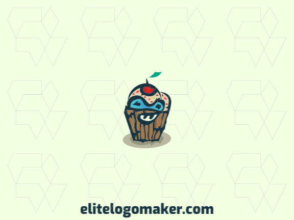 Stylized logo with the shape of a monster combined with a cupcake with blue, yellow, green, pink, and red colors.