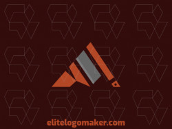 Simple logo design consists of the combination of a mountain with a shape of an ax with gray and brown colors.