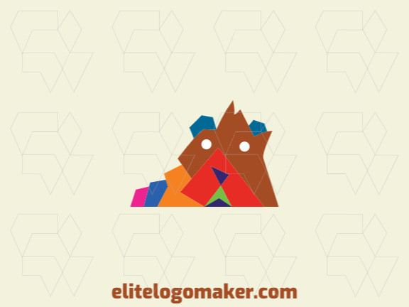 Animal logo in the shape of a brown bear combined with a mountain with blue, brown, pink, yellow, orange, purple and red colors.
