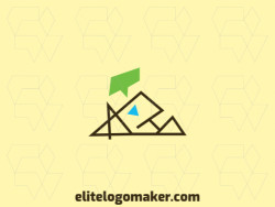 Customizable logo in the shape of a mountain combined with a chat box composed of an abstract style with blue, brown, and green colors.