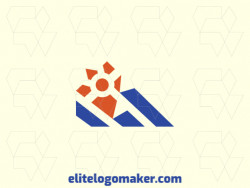 Abstract logo in the shape of a mountain combined with an animal footprint with blue and orange colors.