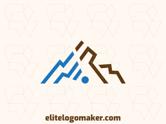 Minimalist logo with incredible idea forming a mountain combined with a wifi icon composed of abstract shapes with brown and blue colors.