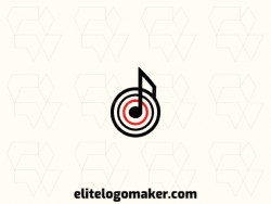 Ideal logo for different businesses in the shape of a musical note combined with a target, with a minimalist style.