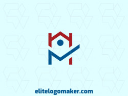 "Simple logo design with the shape of a house combined with the letter ""N"" with blue and red colors."
