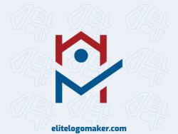 """Logotipo customizável com a forma de uma casa mesclado com uma letra """"N"""" composto por um estilo simples e cores vermelho e azul."""