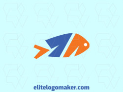 "Double meaning logo design consists of the combination of a fish with a shape of a number ""1"" with orange and blue colors."