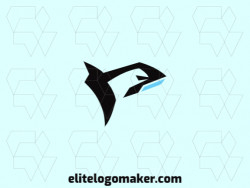 Simple logo with a refined design forming an orca whale with blue and black colors.