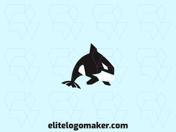 Animal logo design composed of abstract shapes and creative style, forming an orca whale with black and white colors.