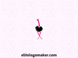 Mascot logo with a refined design forming an ostrich with pink and black colors.
