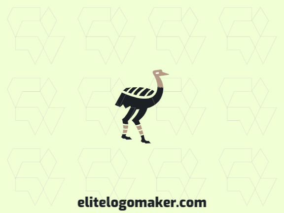 Animal logo with a refined design forming an ostrich with black and beige colors.