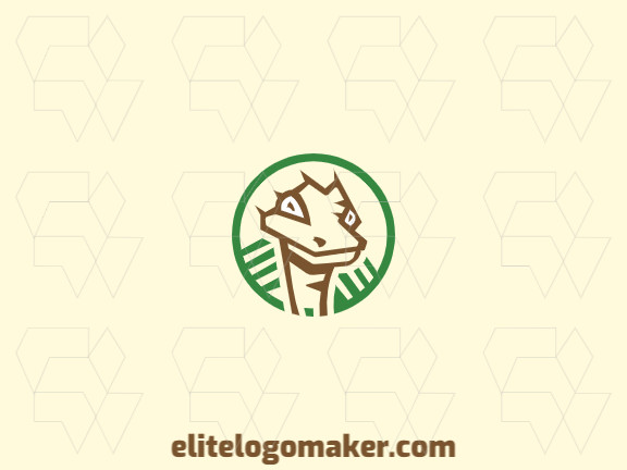 Circular logo design composed of abstract shapes and rectangles forming an ostrich with brown and green colors.