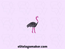 Abstract logo design with the shape of an ostrich composed of abstracts shapes with black and pink colors.