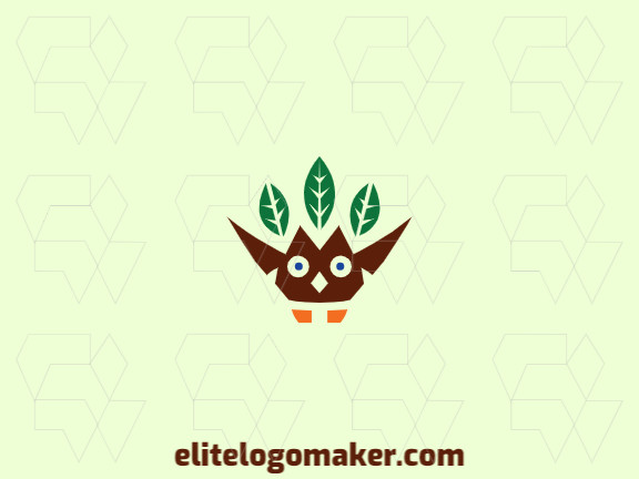 Elegant logo with abstract shapes forming an owl combined with leaves with a simple design with green, brown, and orange colors.