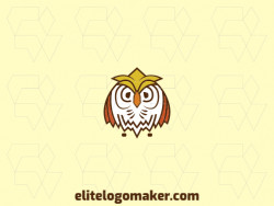 Customizable logo design with the shape of an owl composed of an abstract style with brown, white, orange, and yellow colors.