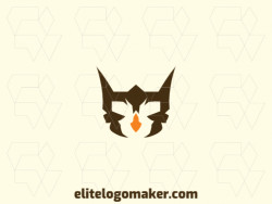 Simple logo composed of abstract shapes forming an owl with brown and orange colors.