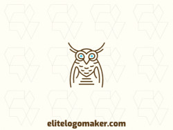 Create your online logo in the shape of an owl with customizable colors and a monoline style.