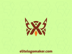 Symmetric logo created with abstract shapes forming an owl with brown and orange colors.