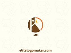 Memorable logo in the shape of an owl with circular style, and customizable colors.