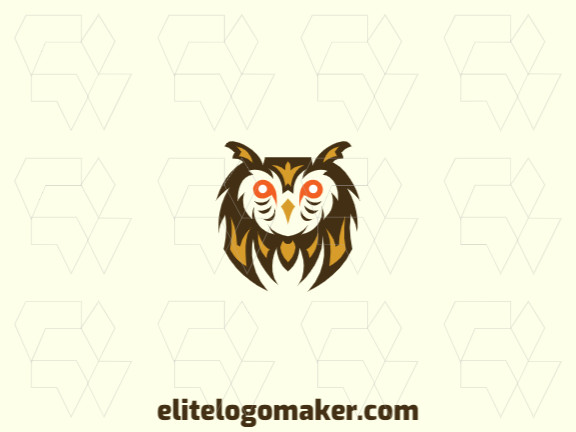 Mascot logo design in the shape of an owl composed of stylized shapes with orange, brown, and yellow colors.