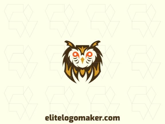 Ótimo logotipo com a forma de uma cabeça de coruja com design simétrico, fácil de aplicar em diferentes mídias.
