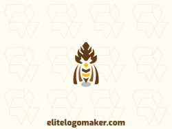 Ready-Made logo with symmetry style and abstract shapes forming an owl with gray, yellow, and brown colors.