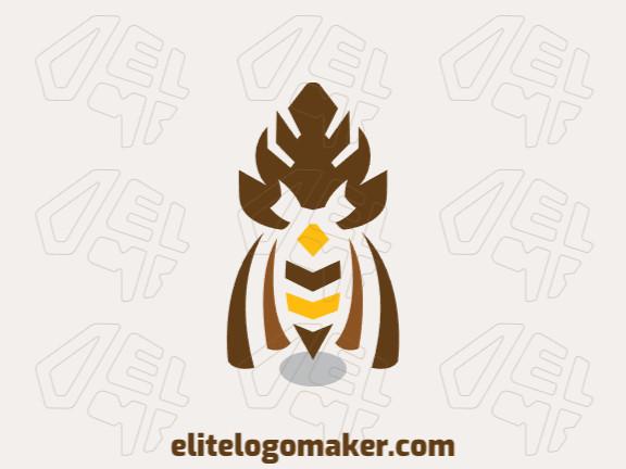 Logotipo elegante composto por formas criativas formando uma coruja com estilo simétrico, as cores utilizadas foi amarelo e marrom.