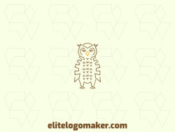 Customizable logo with the shape of an owl composed of a monoline style with yellow and brown colors.