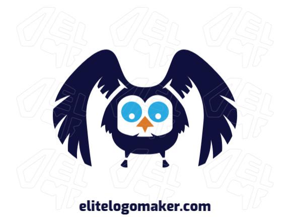Logotipo moderno  com a forma de uma coruja com design profissional e estilo simétrico.