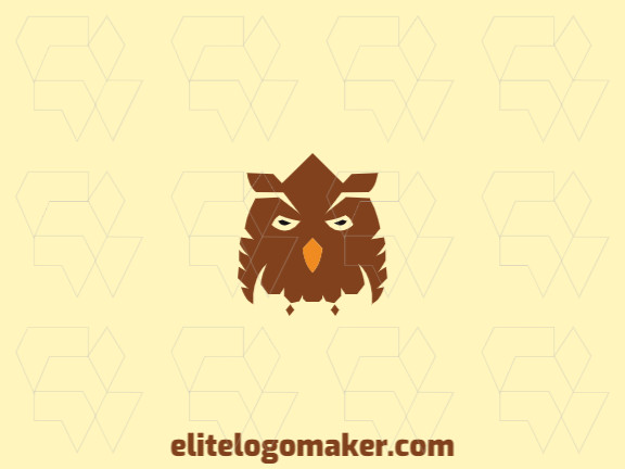 Elegant logo made up of simple shapes forming an owl with symmetry style, the colors used are black, brown, and orange.