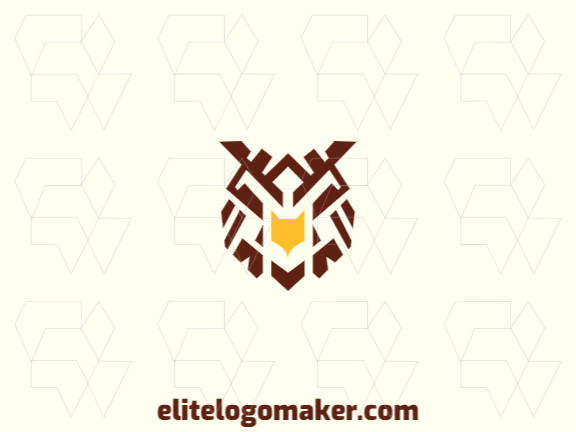 Symmetry logo created with abstract shapes forming an owl head with yellow and brown colors.