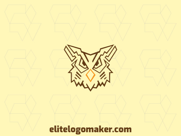Professional logo composed of stylized shapes forming an owl head with abstract design, the colors used are yellow and brown.