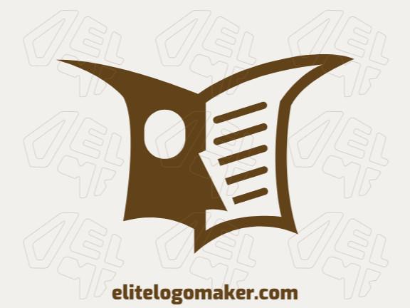 Logotipo vetorial com a forma de uma coruja mesclado com um livro com design abstrato e cor marrom.