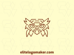 Logo available for sale in the shape of an owl head with monoline design and brown color.