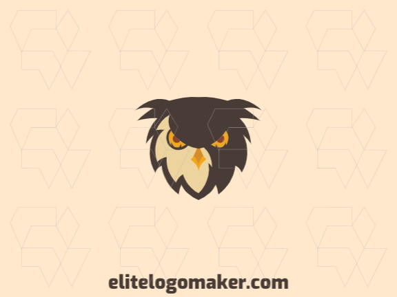 Stylized logo with the shape of an owl's head composed of abstracts shapes with brown, yellow and orange colors.