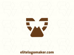 Logo available for sale in the shape of an owl combined with a play icon, with minimalist style and brown color.