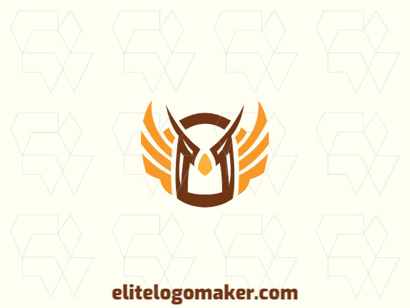 Creative logo in the shape of an owl with memorable design and abstract style, the colors used was brown, orange, and yellow.
